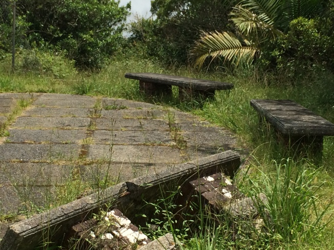 Overturned bench