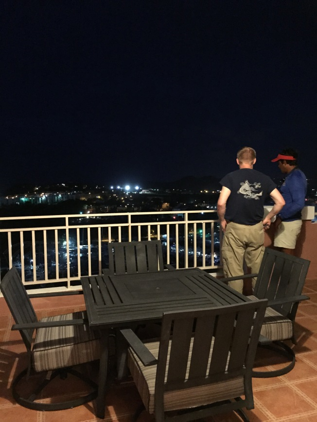 Kenny and Raymond on balcony, night of arrival